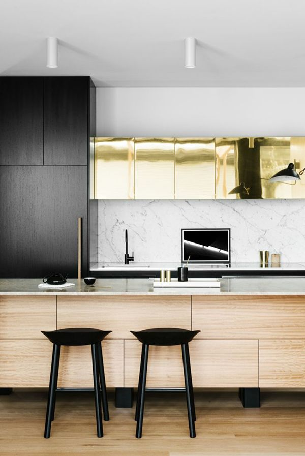 kitchen accessories design%0A gold and black cabinets with pale wood     kitchen  design