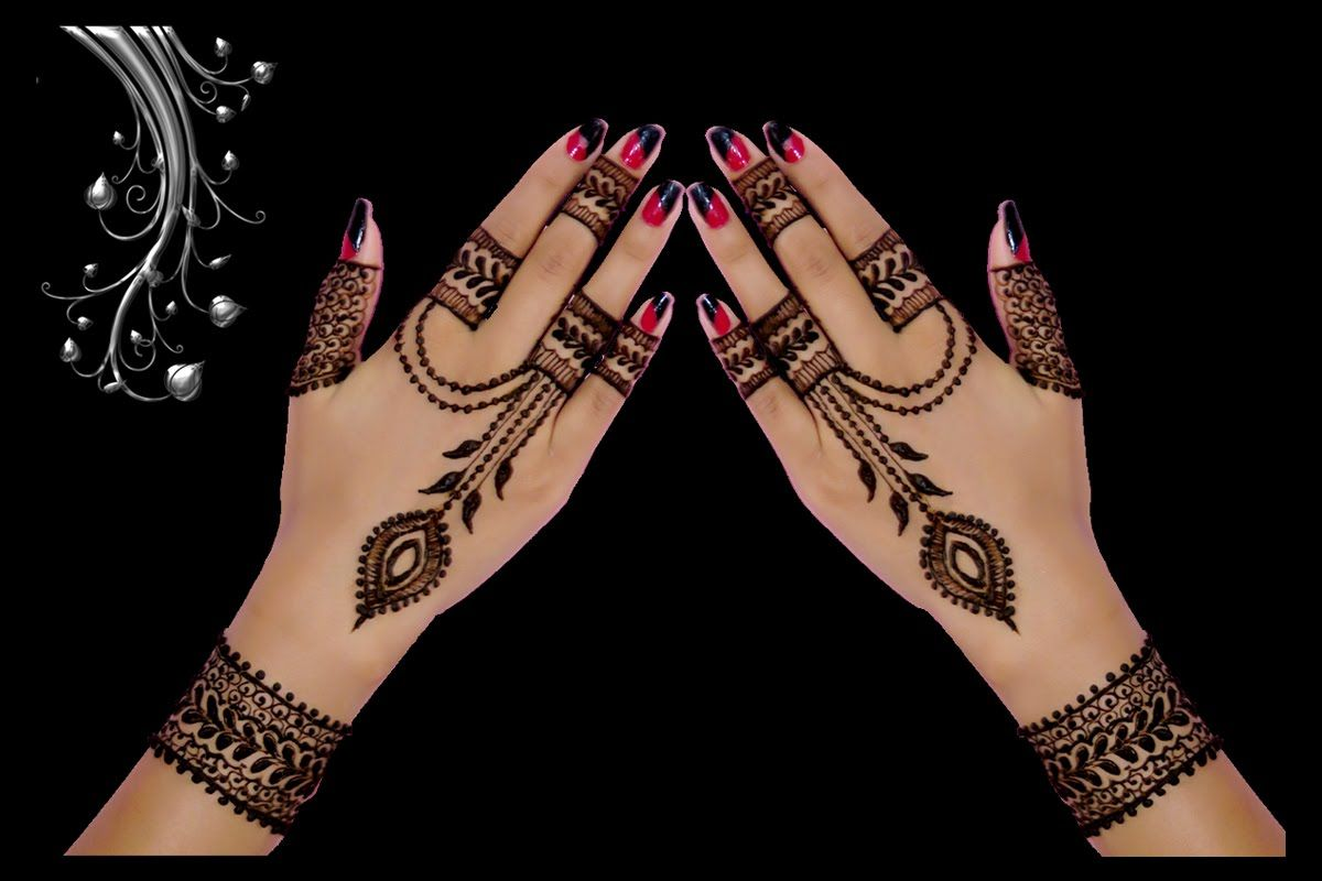 Cute Ornament Jewellery Style Back Hand Henna Mehndi Design In