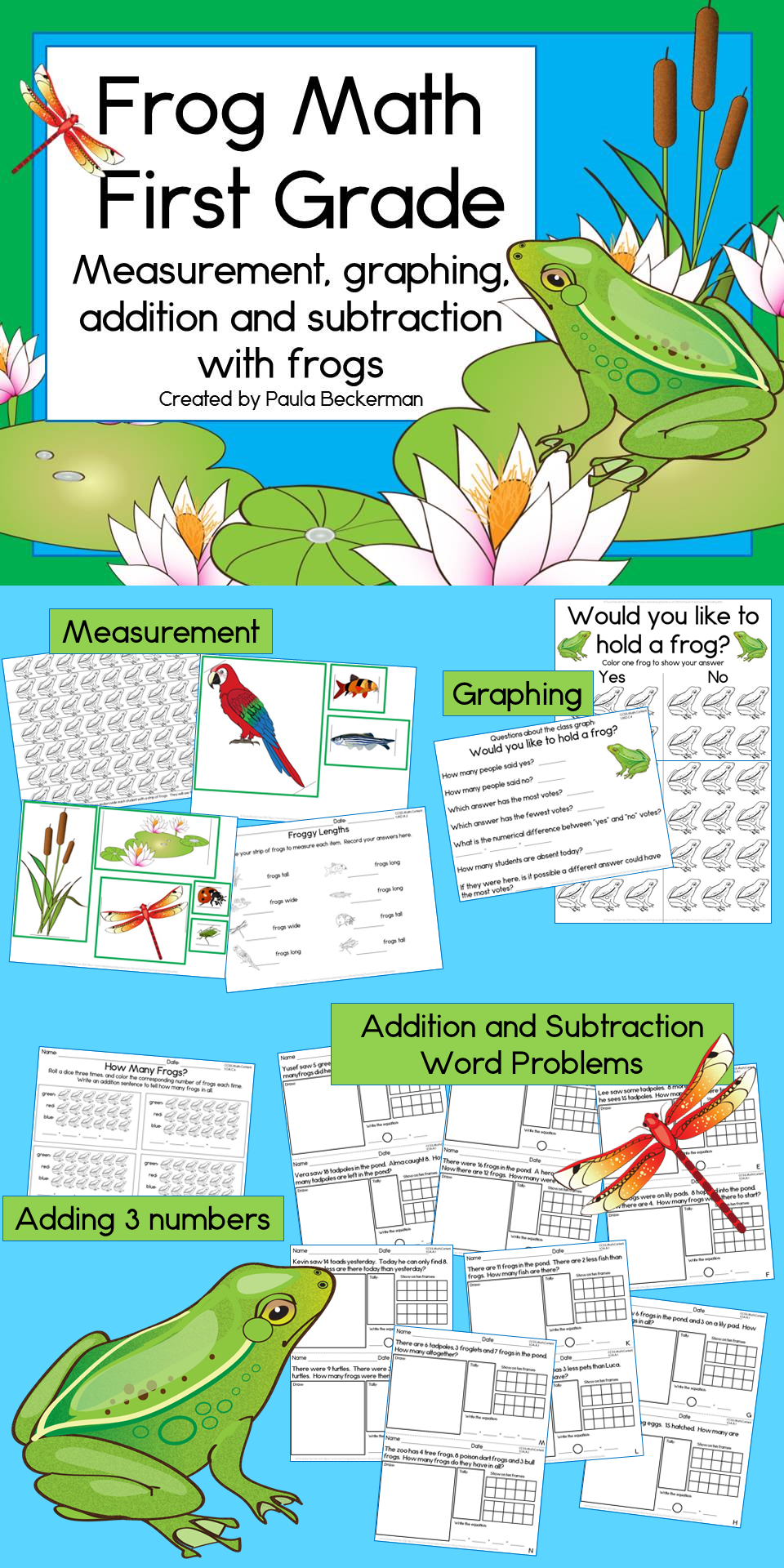 Frog Math for First Grade (Addition, Subtraction, Graphing ...