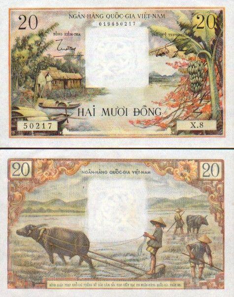 South Viet-Nam   20 Dong (1956) (huts, boats, buffalos)