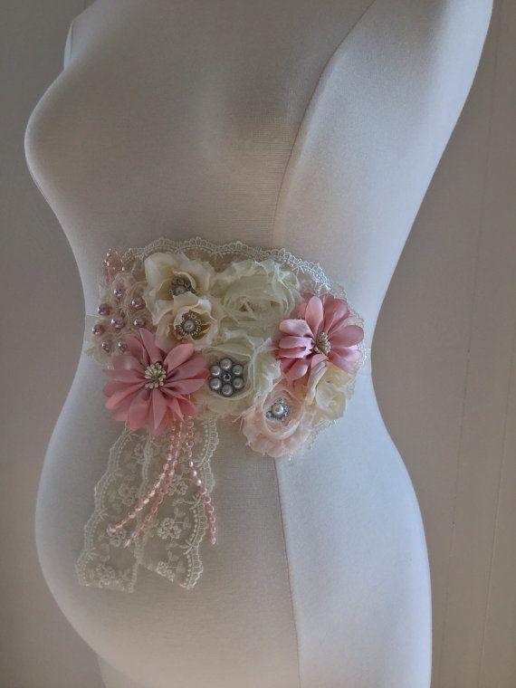 vintage dusty pink ivory maternity sash birdal sash baby shower