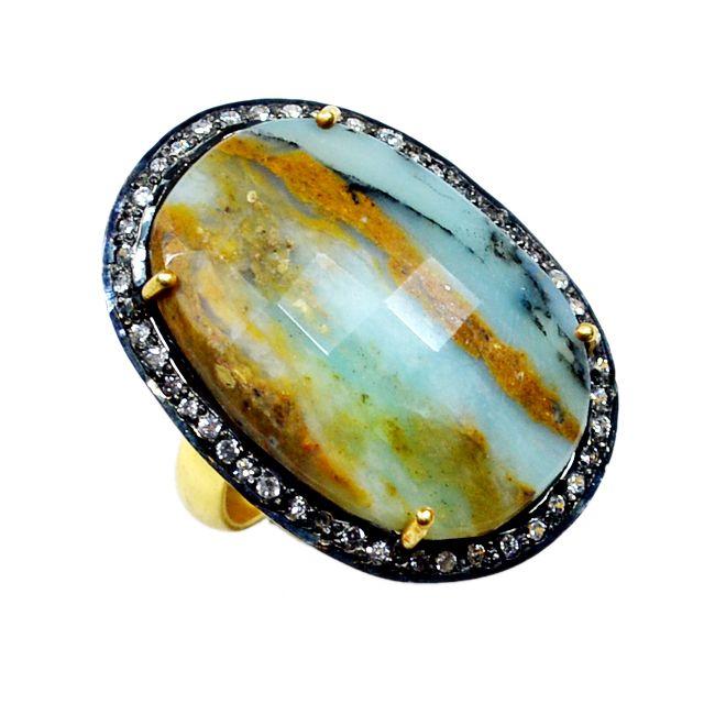 Silvestoo India Peru Opal & Cubic Zircon Gemstone 925 Sterling Silver Vermeil Ring US Sz 6.5 Adjustable PG-100717  https://www.amazon.co.uk/dp/B06XXKV9YW