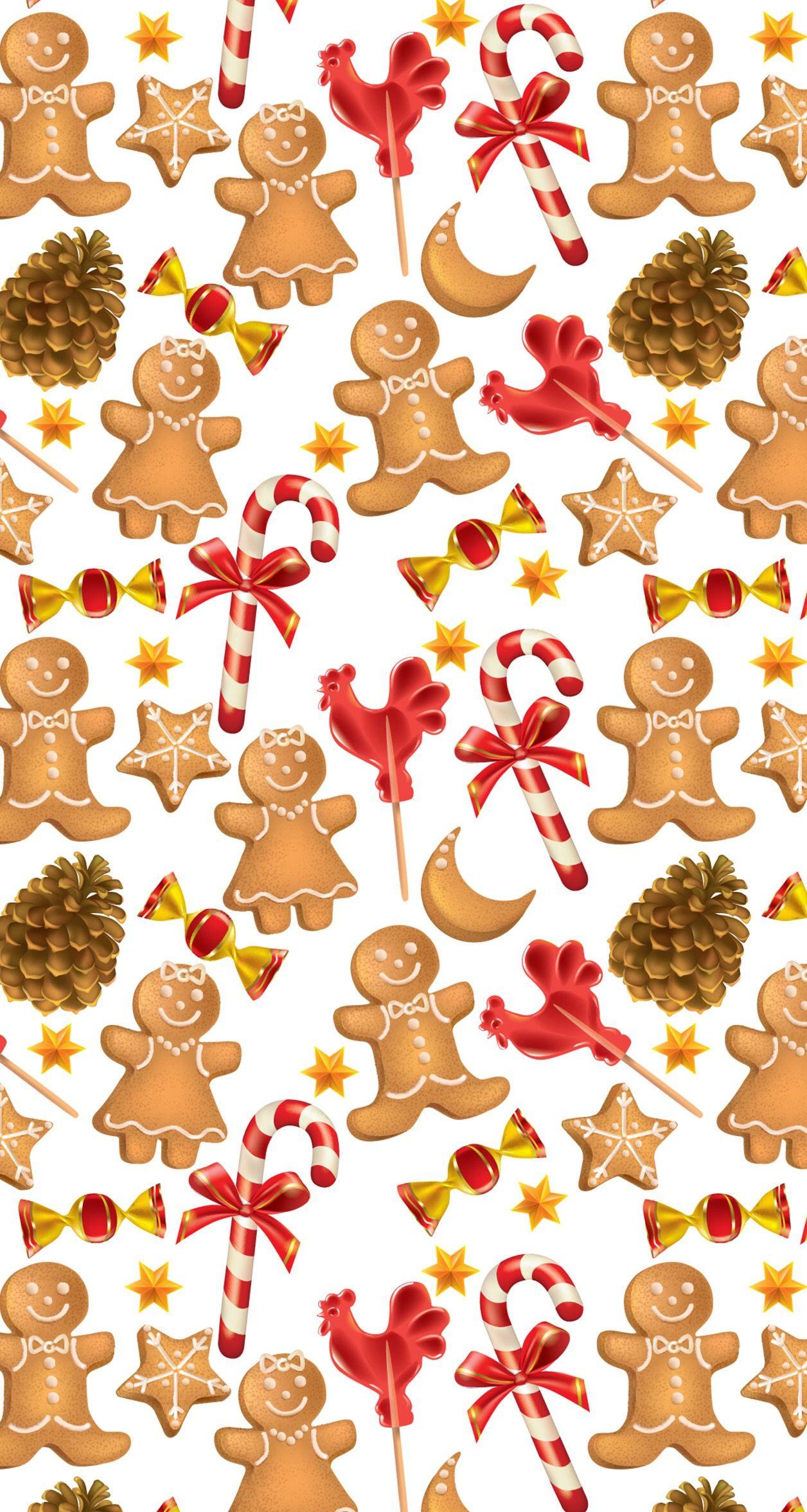 Gingerbread Men Christmas Candy Cane Christmas Wallpaper