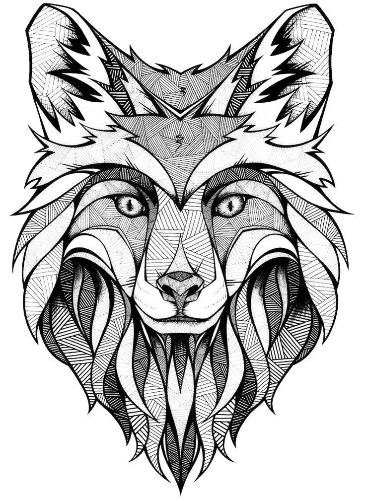 Mandala Fox Face Coloring Page Fox Coloring Page Animal Tattoos