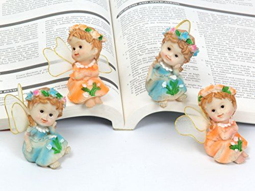 Ginsco 4pcs Garden Decor Angel Fairies Statue Home Decoration - outdoor angel christmas decorations
