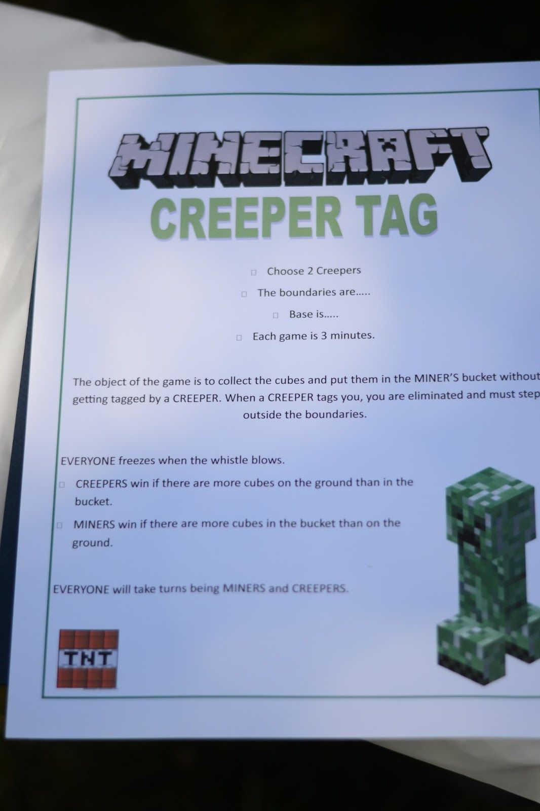 Creeper Tag Like Capture The Flag But Minecraft Theme Minecraft - Minecraft creeper spiele