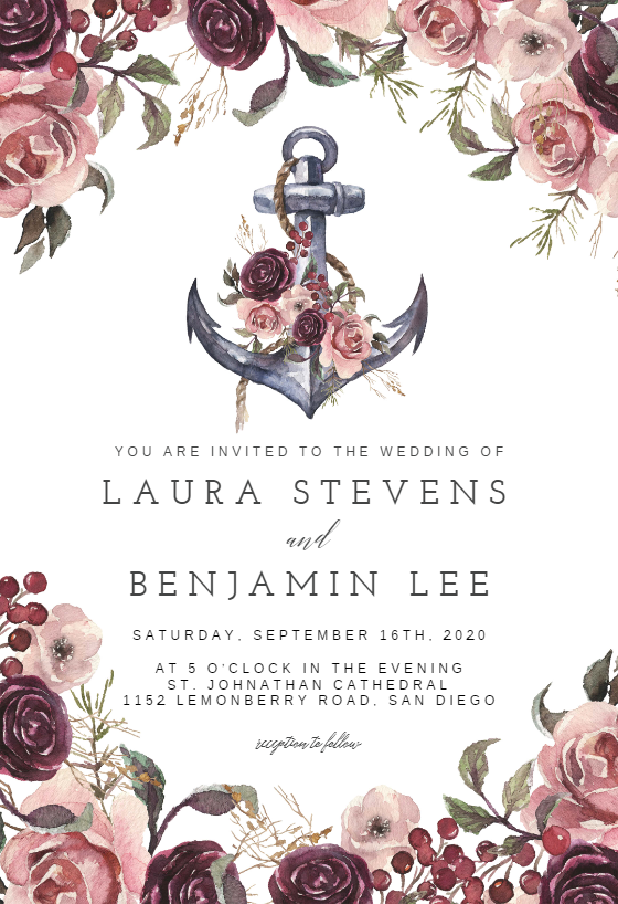 Anchor And Floral Frame Wedding Invitation Template Greetings Island Bridal Shower Invitations Templates Free Printable Wedding Invitations Wedding Invitation Templates