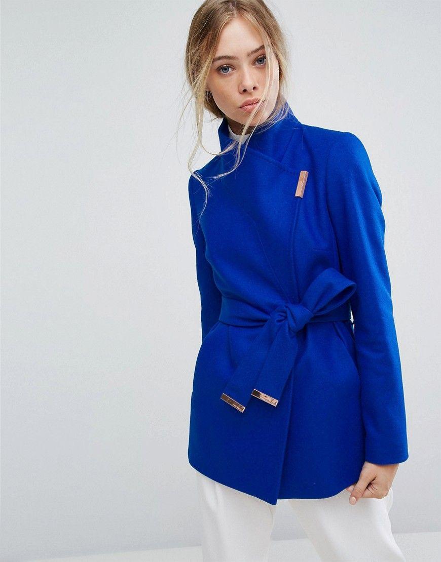 768f2238b TED BAKER SHORT WRAP COAT - BLUE.  tedbaker  cloth
