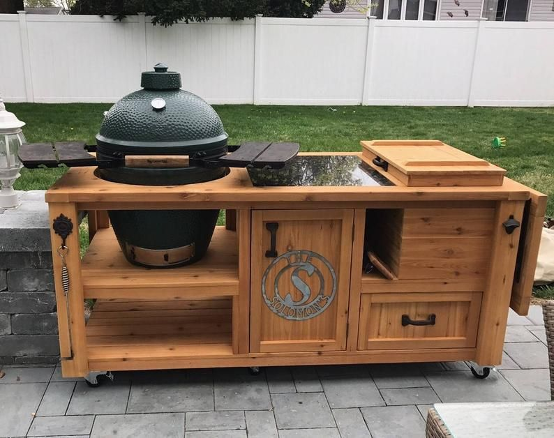 Custom Grill Table Or Grill Cart For Big Green Egg Kamado Etsy