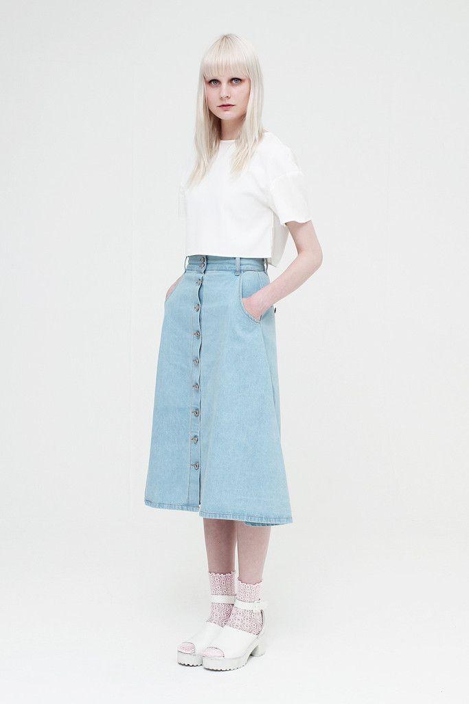 Button-through Midi Skirt Denim