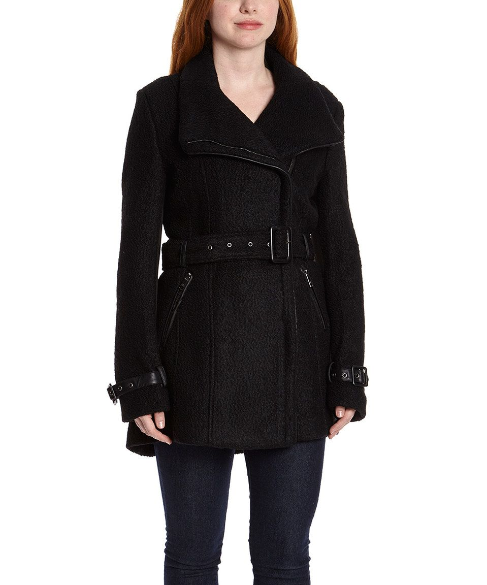 2d8eed1000 Look what I found on  zulily! Steve Madden Black Belted Wool-Blend Trench  Coat by Steve Madden  zulilyfinds