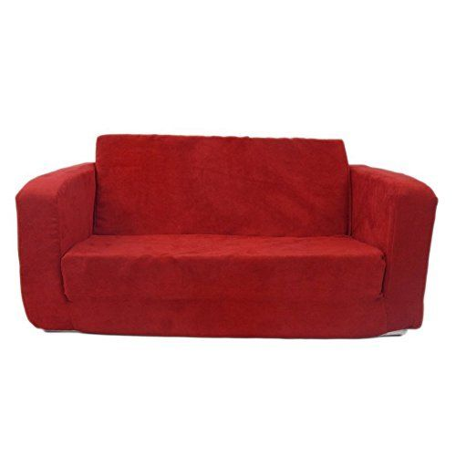 Flip Open Sofa For Kids   Convertible Children Soft Upholstered Futon Bed    Toddler Room   Boys And Girls Colors (Red) | Kids Sofa Chair Children ...