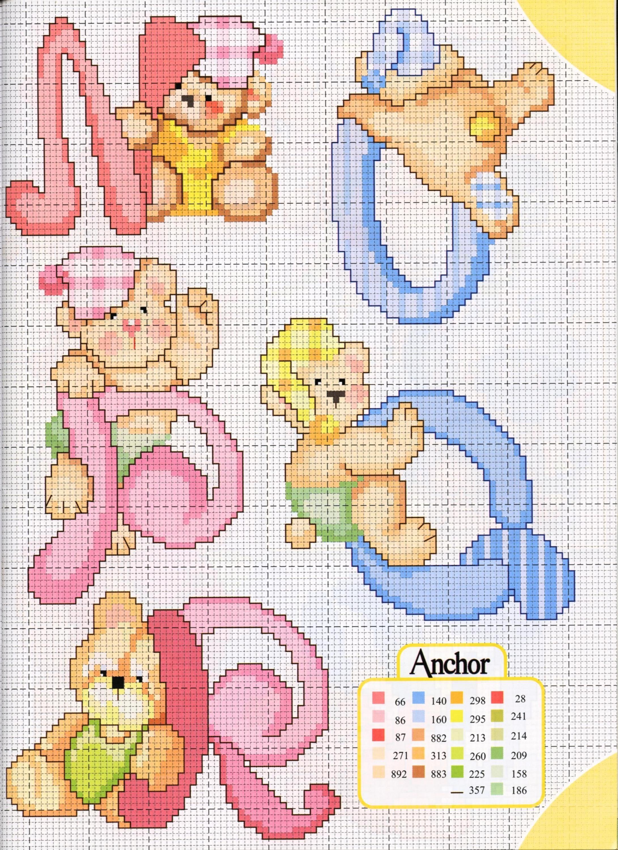Alfabeto teneri orsetti 5 punto croce for Alfabeto a punto croce schemi