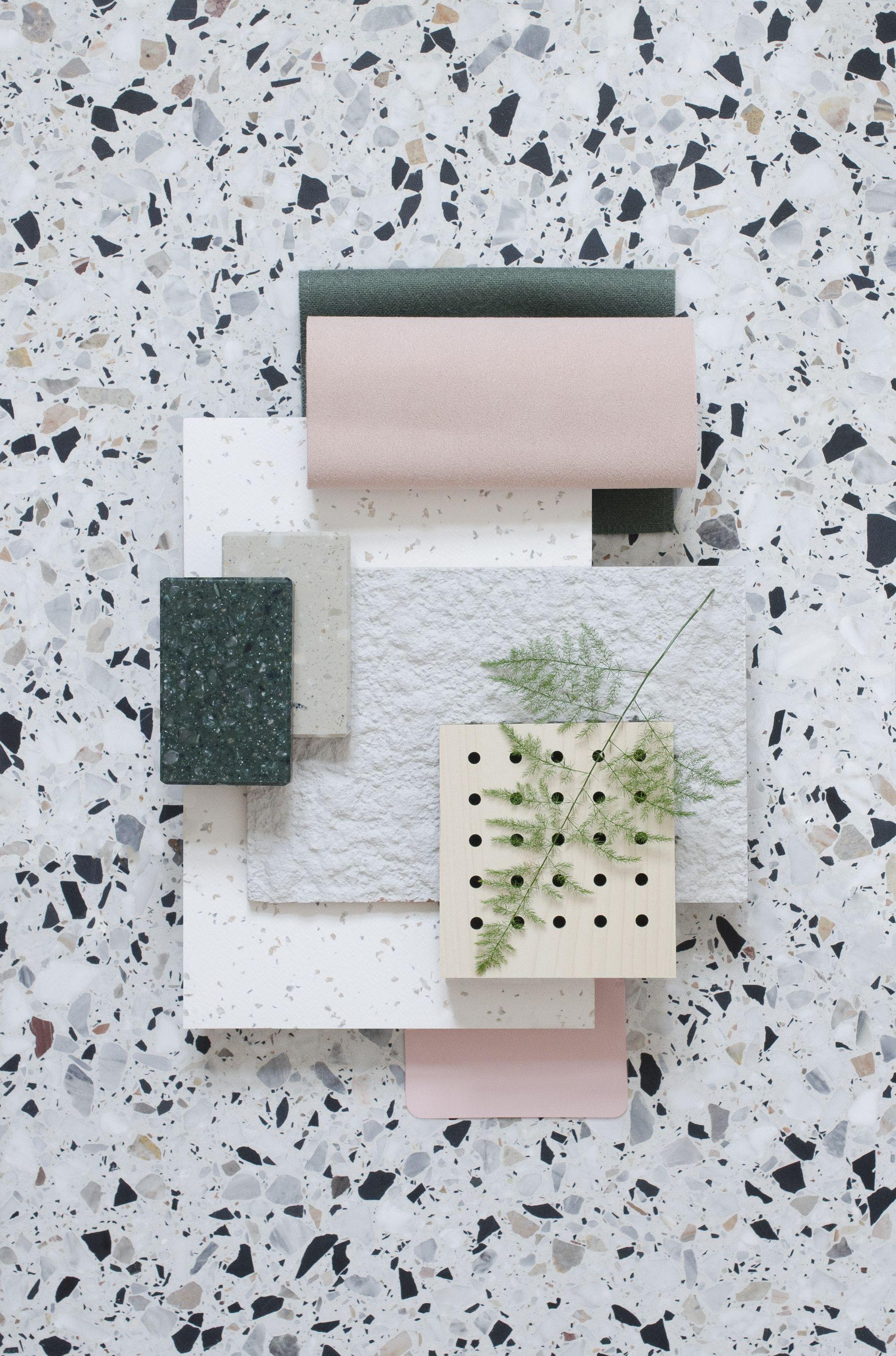 Granito tegels in combinatie met roze pastel tinten mood board tegels interieur bord licht interieur zwart wit interieur