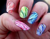 Photo of Zebra Gradient Skittles by fingerfood  Nail Art Gallery nailartgallery.na by