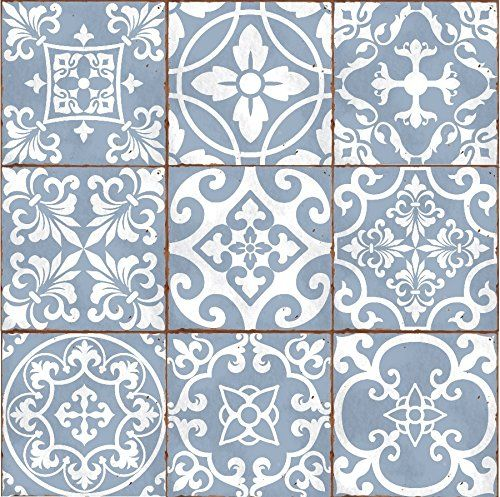 Pack Of 9 Mixed Dove Blue Victorian Moroccan Retro Traditional Aged Style Mosaic Tile Transfers