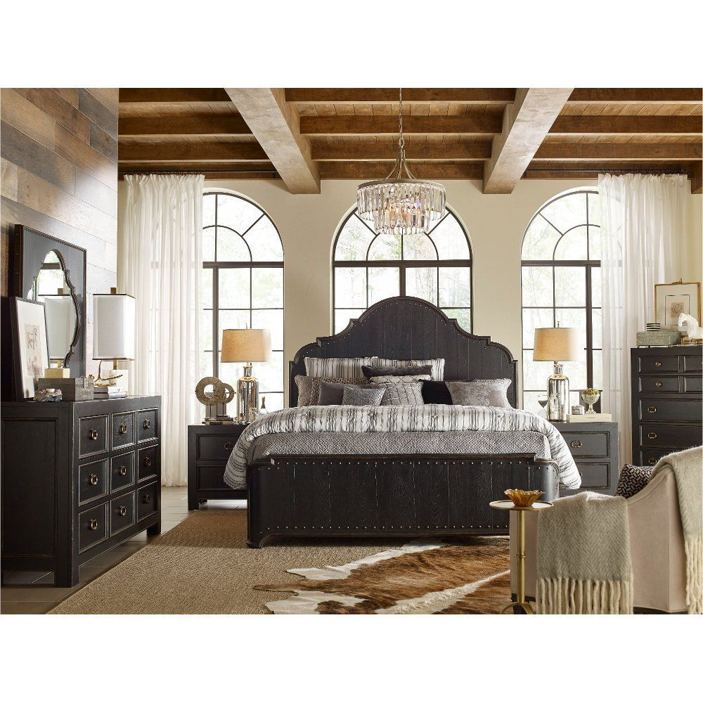 Clearance Rustic Traditional Black 4 Piece Queen Bedroom Set