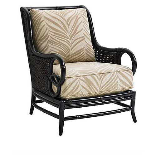Sunbrella Accent Chair With Ottoman: Marimba Outdoor Accent Chair, Gold Sunbrella