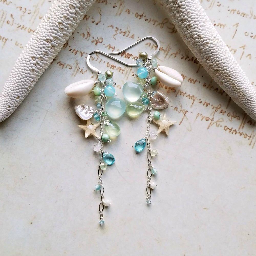 Handknotted Blue Gemstone chandelier earrings ~ aquamarine knotted chandelier earrings ~ handknotted aquamarine earrings
