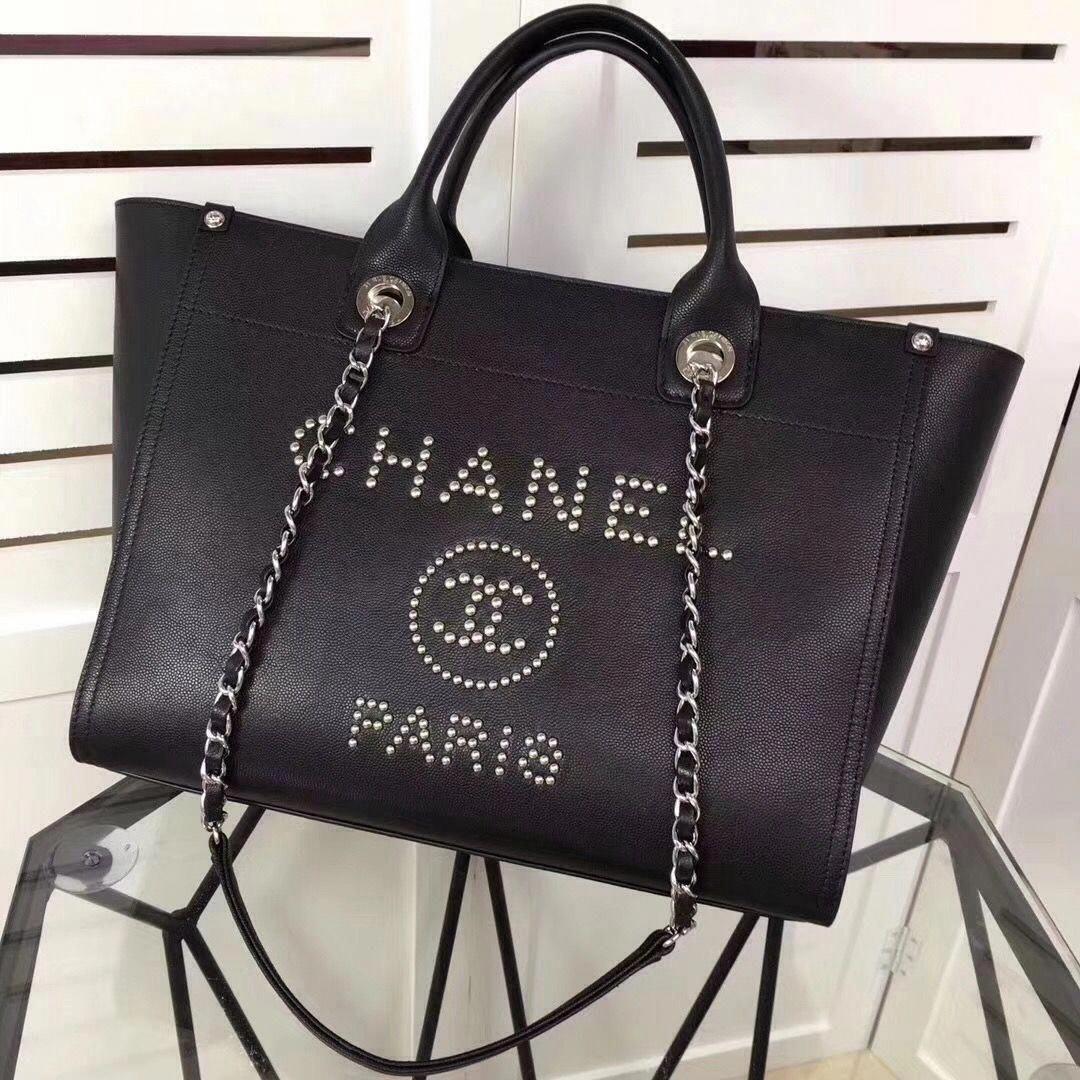 ea46bd144977 Chanel Studded Calfskin Deauville Small Shopping Bag Black 2018   Chanelhandbags