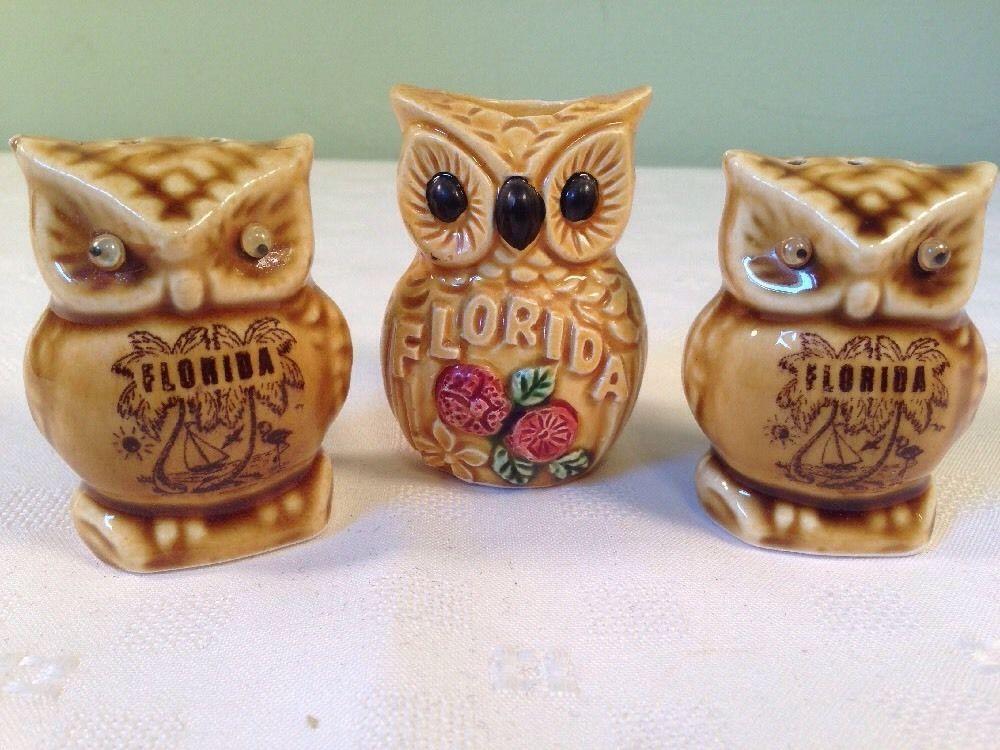 Vintage Florida Souvenir Owl Salt Pepper Shakers Toothpick