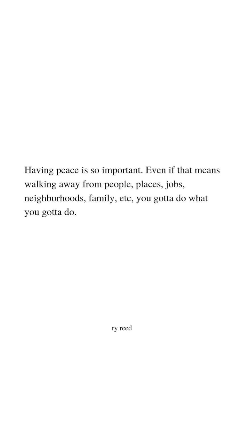 having peace is much more important