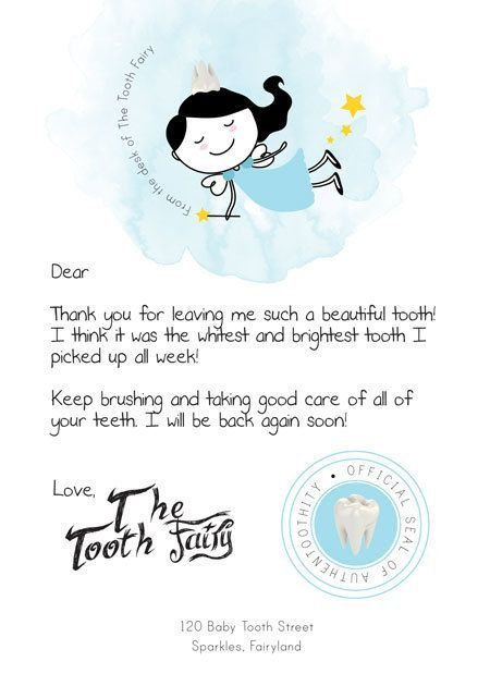Universal image in free printable tooth fairy letters