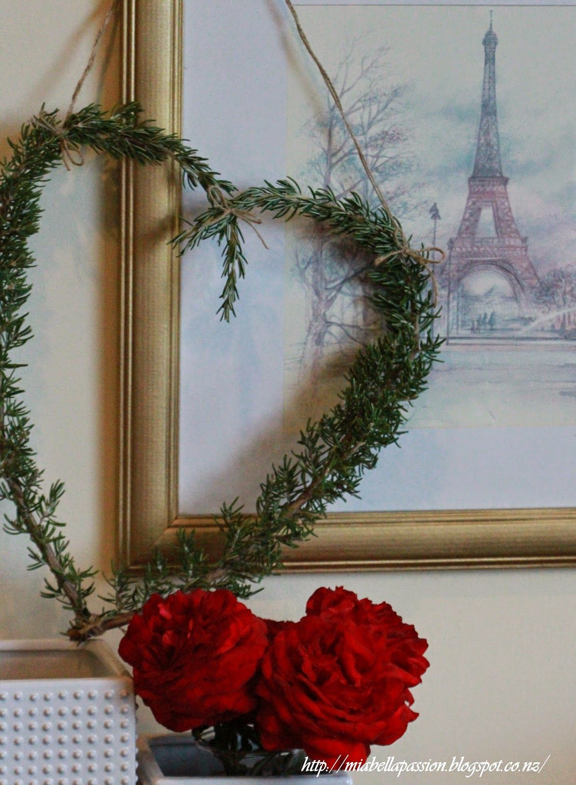 Mia Bella Passions:  How to make a rosemary heart wreath for Valentines Day Decor. #valentinesdaycrafts #heart #rosemary