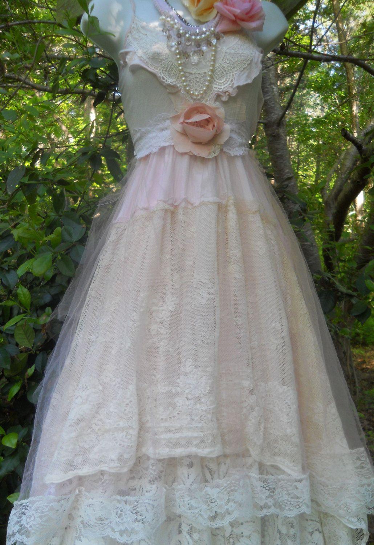 Blush wedding dress beading roses tulle lace fairytale bridesmaid