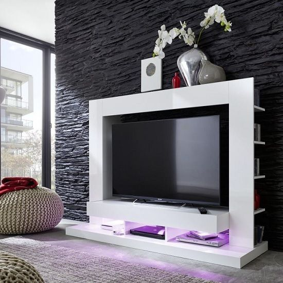 Stamford Entertainment Unit In White Gloss Fronts With Shelving High Tv Stands Black