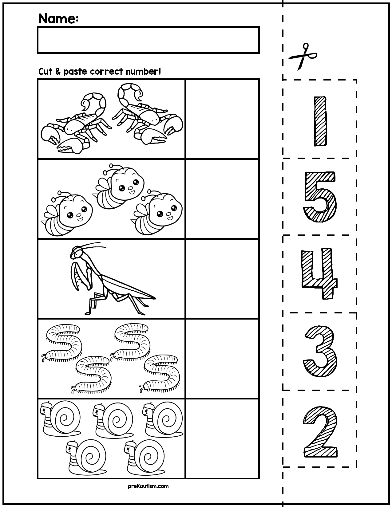 Spring Creepy Crawlers Cut Amp Match Worksheets