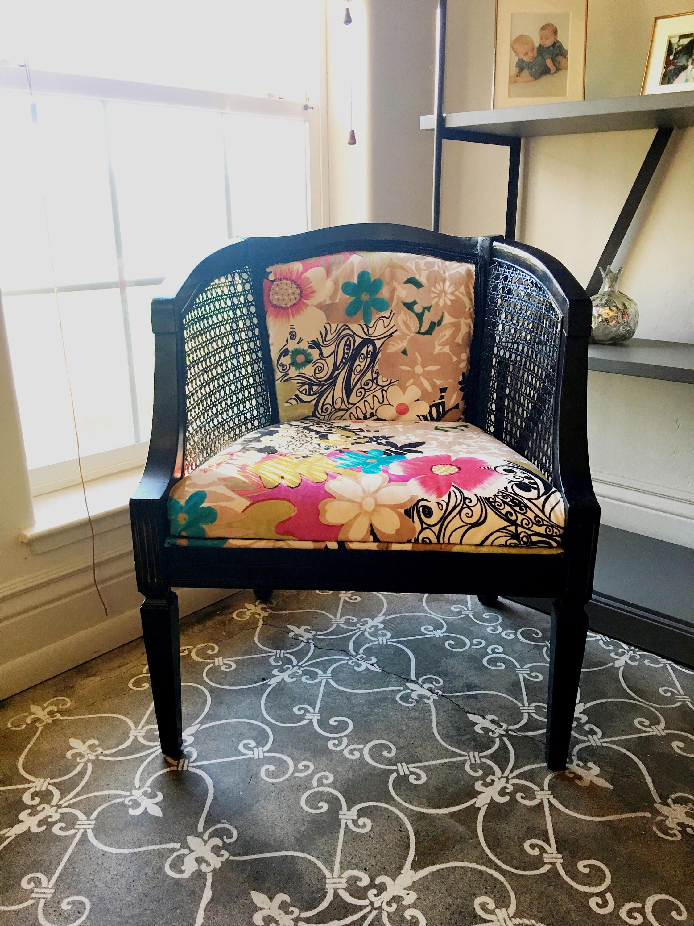 Vintage Cane Arm Chair refinished Black and reupholstered