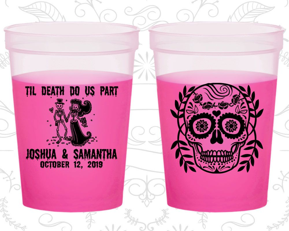 Till Death Do Us Part, Promotional Party Mood Cups, Sugar Skull, Day ...