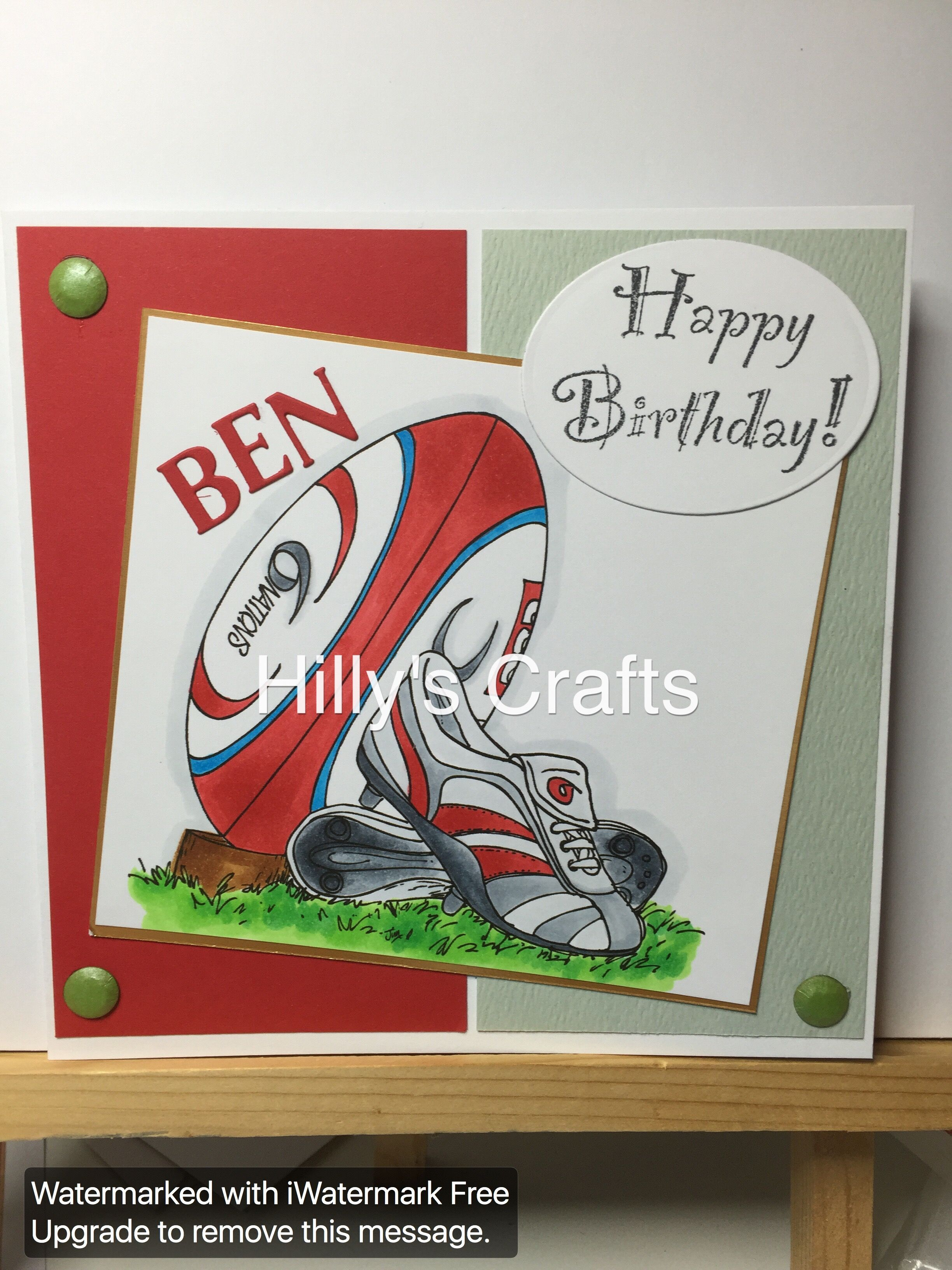 Rugby Digi Stamp Coloured In Using Copics Birthday Cards For Men Boy Cards Cards Handmade