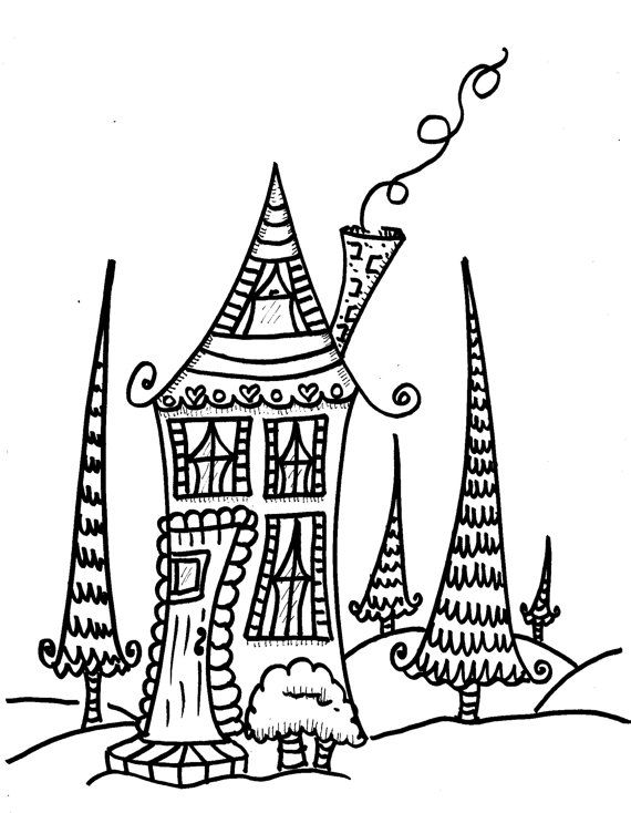 The Little Cottage Coloring Book, hippie home coloring book | DA ...