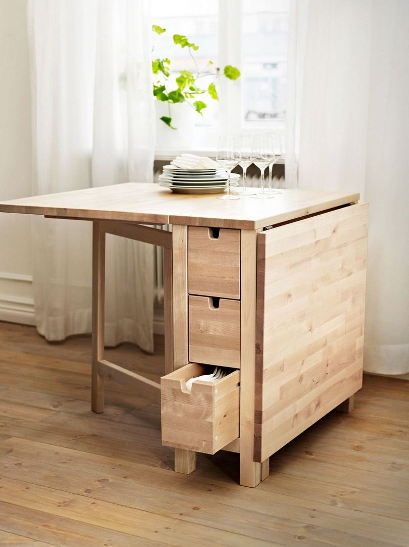Table Gain De Place Bois Massif Avec Tiroirs De Rangement Par Ikea Table De Cuisine Pliante Table Gain De Place Table A Manger Pliable
