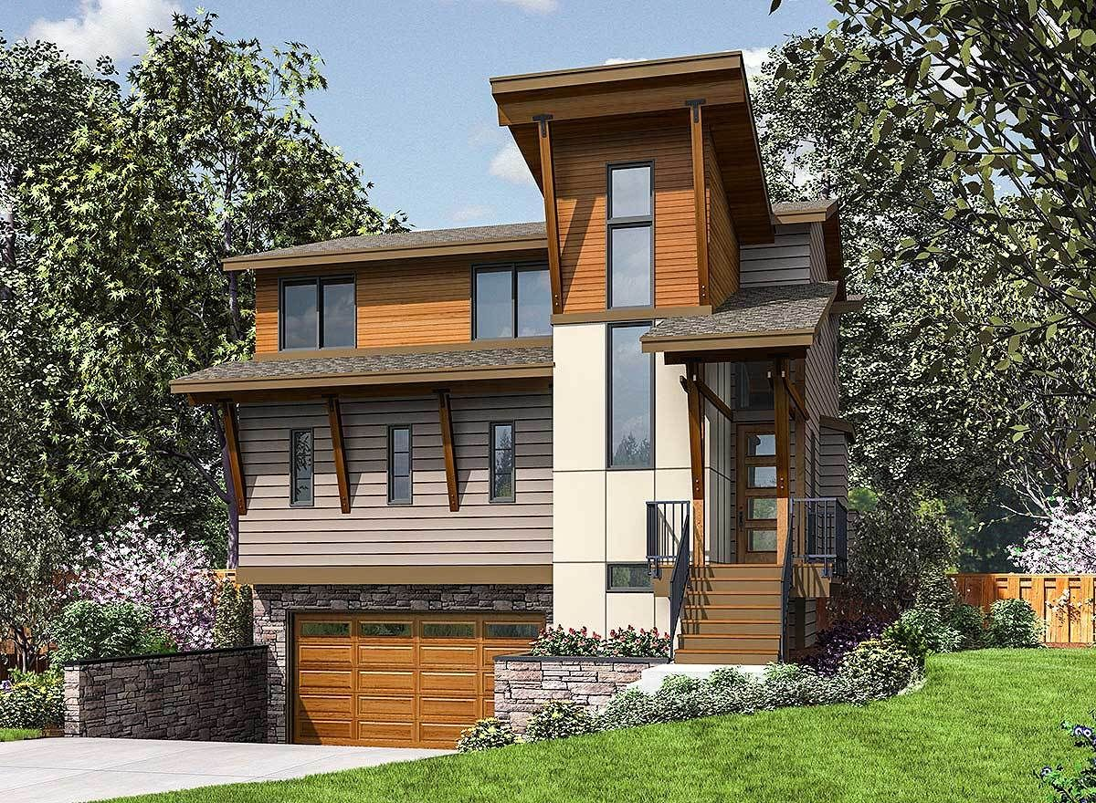 Three story modern house plan designed for the narrow front sloping lot 23699jd 01