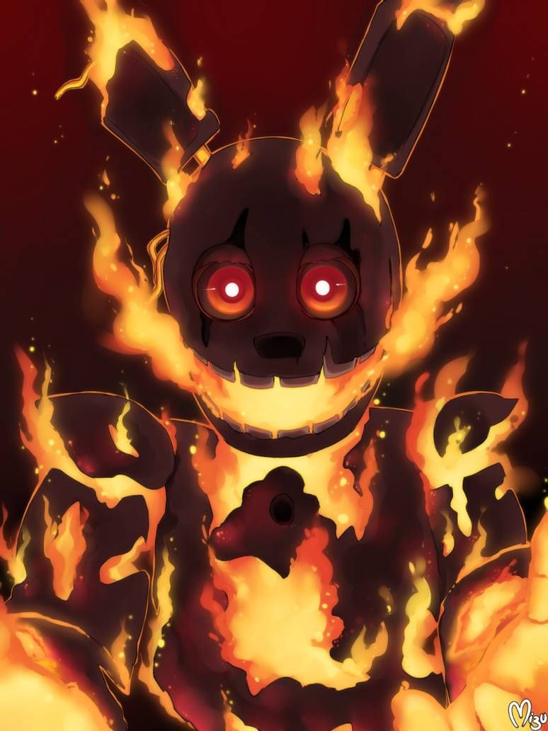 Flaming Springtrap By Blazemizu On Deviantart Anime Fnaf Fnaf Wallpapers Fnaf Drawings