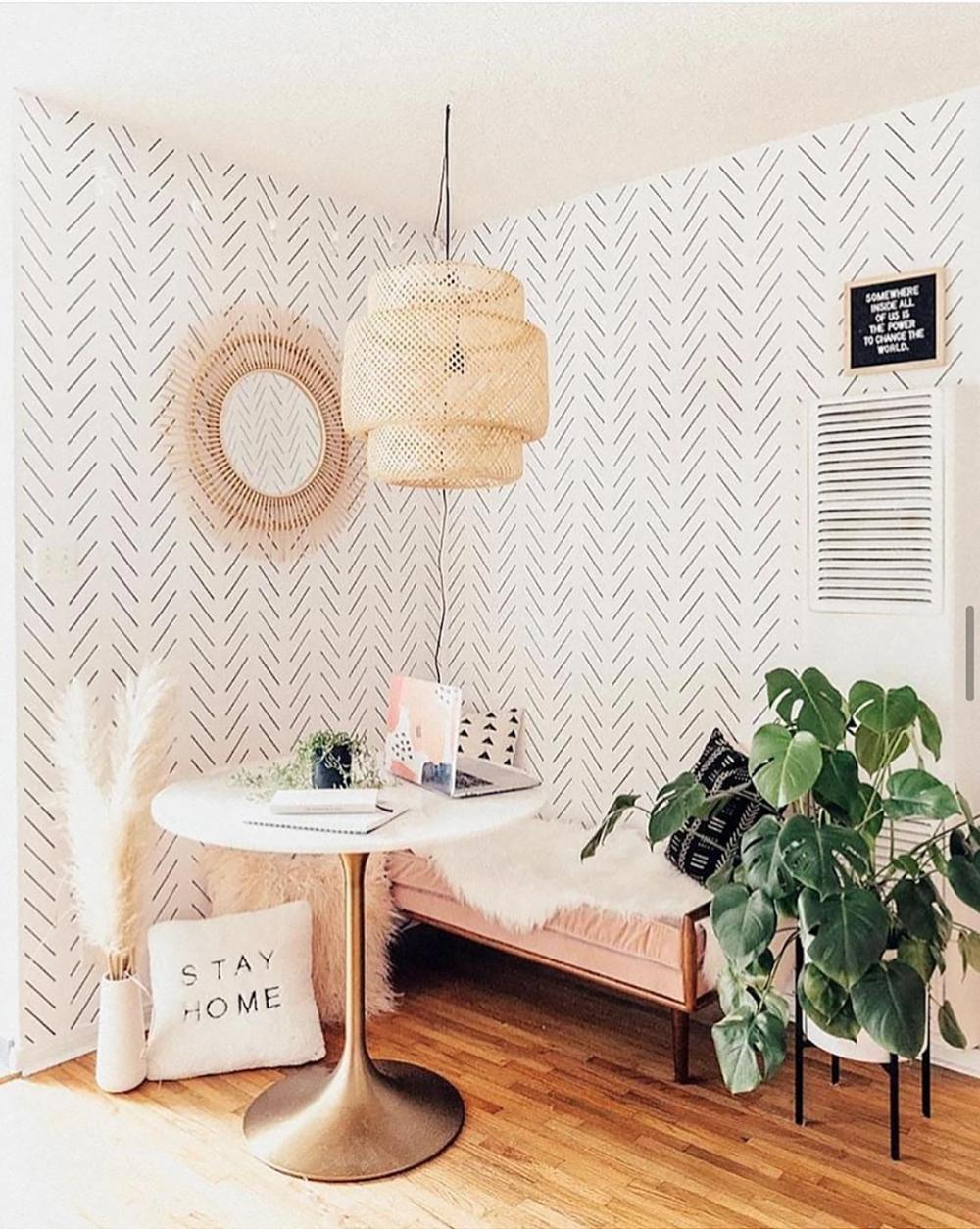 How To Decorate With Removable Wallpaper Modern Delicate Herringbone Design In 2021 Herringbone Wallpaper Interior Design Inspiration Decor