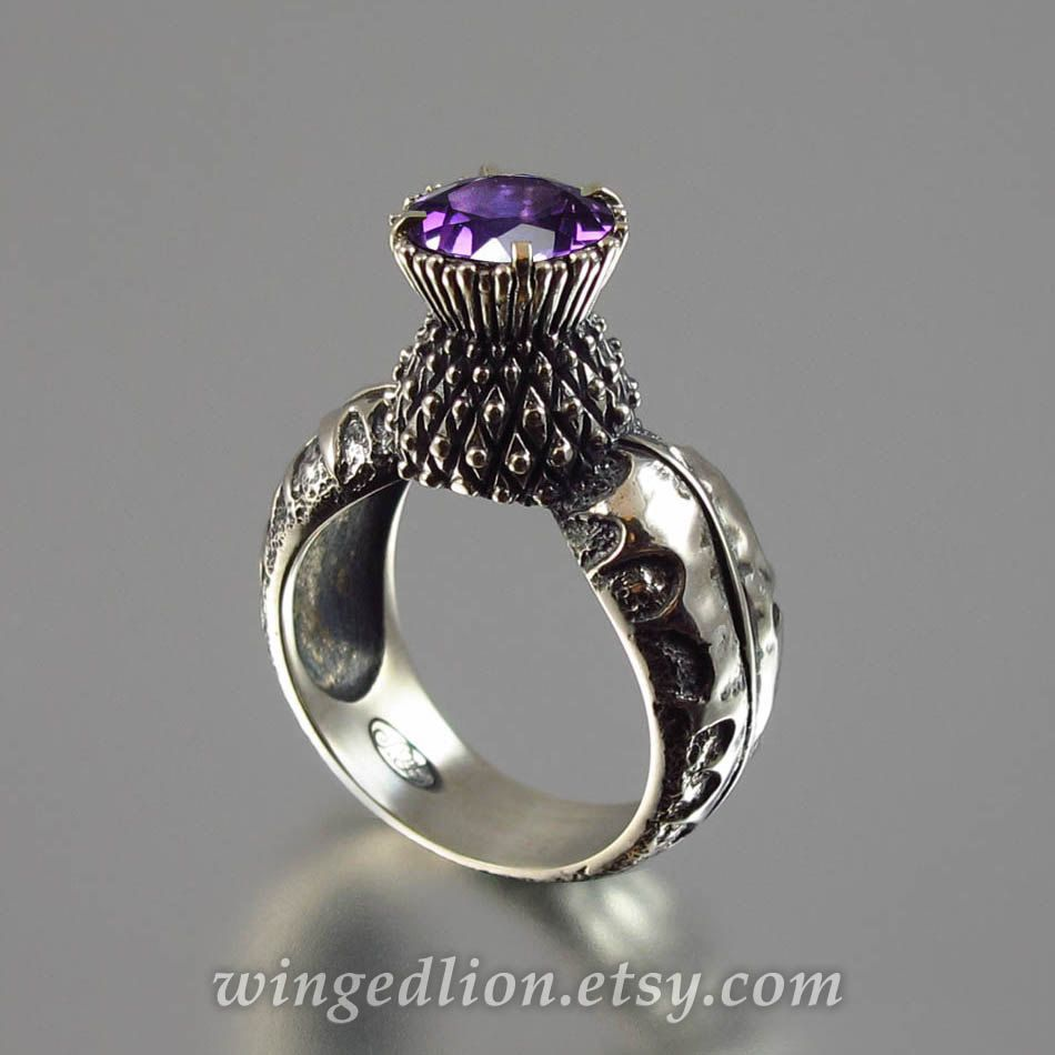 BLOOMING THISTLE silver ring with Amethyst by WingedLion on Etsy