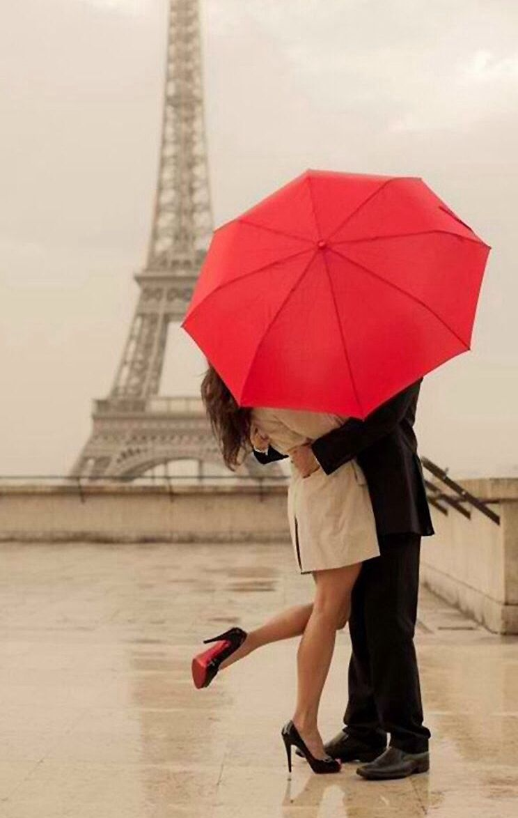 Together Kissing Under The Eiffel Tower Red Umbrella Adorbs