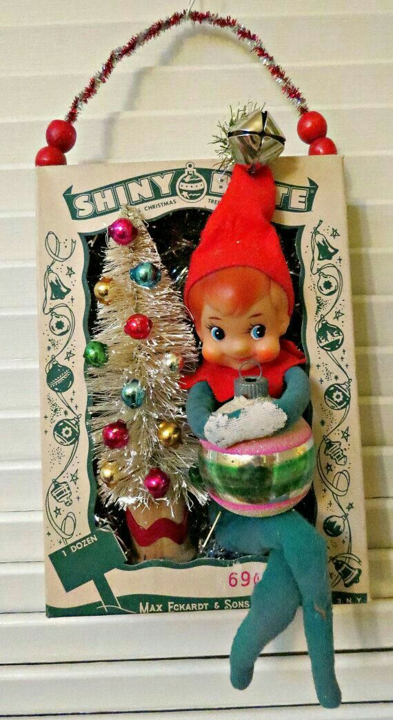 vintage ornament box with shiny and brite christmas wall decoration - Vintage Christmas Wall Decor