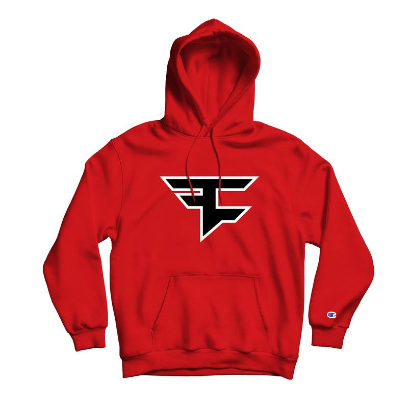 Faze Clan 2019 Logo Hoodie Red 50 50 Cotton Poly Blend 9 0 Oz