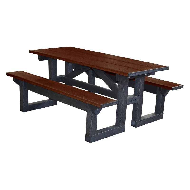 Outdoor Polly Products Tuff Step Thru Recycled Plastic Picnic Table Black Frame Brown Top - PTST6-BLACKFRAME-BROWNTOP