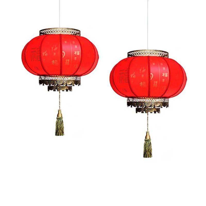 Free Chinese 30cm Red Lanterns Pendant Light Antique E27 Led Lights Hotel Lamp Living Room