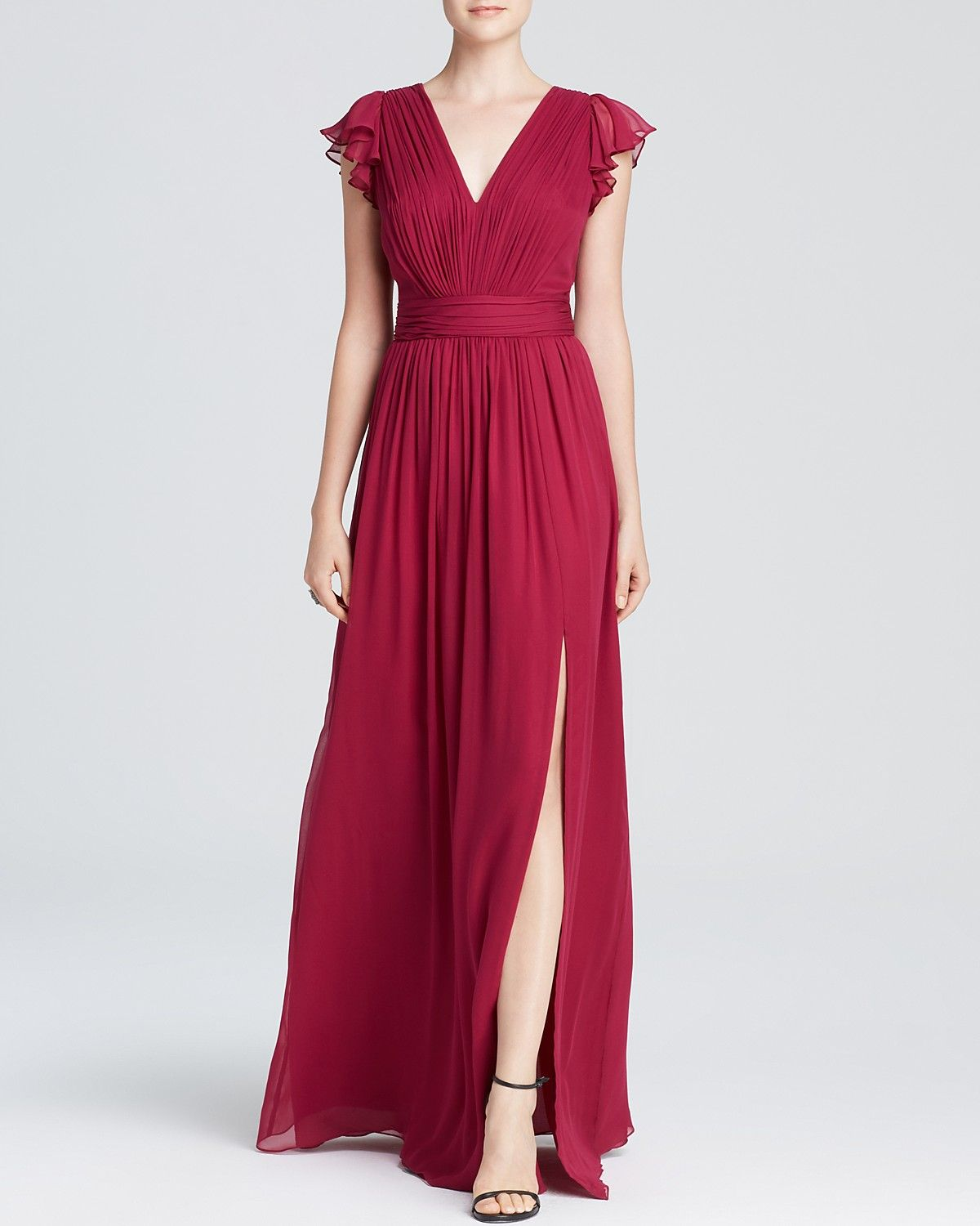 Long dresses to wear to a wedding  Marsala Wedding Inspiration  Jill Stuart Gown  VNeck Flutter Cap