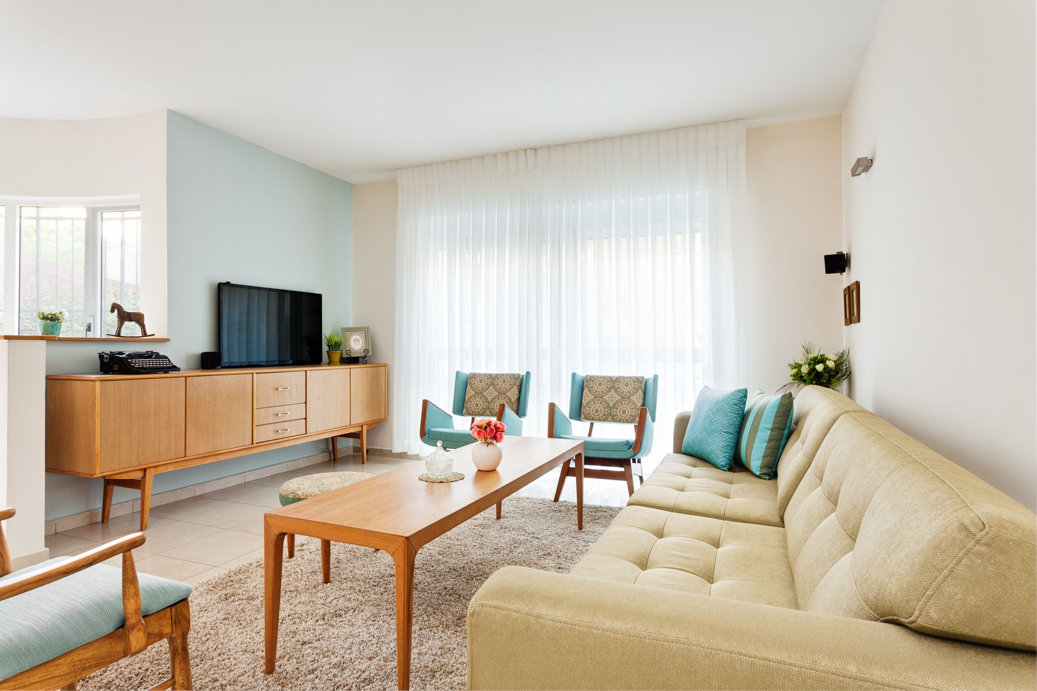 Best Blue Cream Living Room Mid Century Furniture Imported To 400 x 300