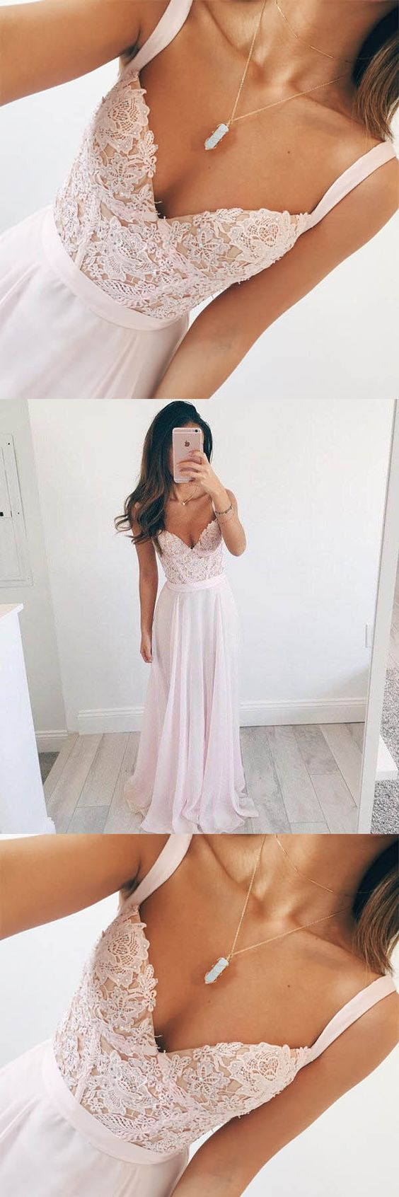 Vneck long chiffon baby pink long prom dress evening dress m