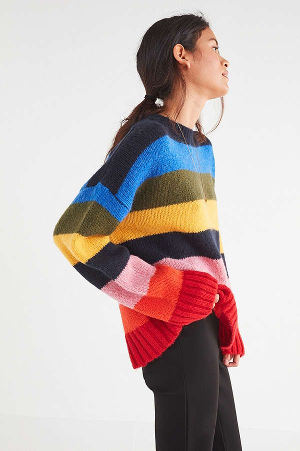 df854edcd3 UO Kari Rainbow Striped Oversized Sweater