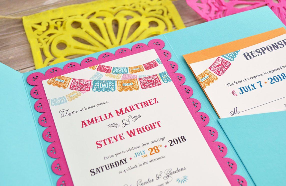 Colorful fiesta inspired diy wedding invitation diy wedding